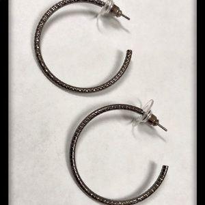 Express Gunmetal Hoop Earrings